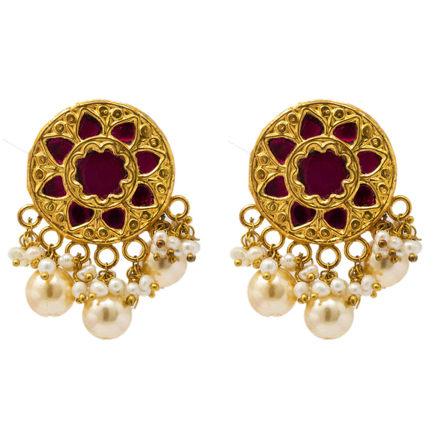 Thappa Jadau earring - By Unniyarcha - Original Manufacturers of Silver Jewelry, Gold Plated Jewellery, Fashion Jewellery and Personalized Soul Bands and Personalized Jewelry