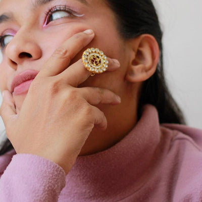 Timeless Gold Plated Silver Jadau Ring Rings - By Unniyarcha - Original Manufacturers of Silver Jewelry, Gold Plated Jewellery, Fashion Jewellery and Personalized Soul Bands and Personalized Jewelry