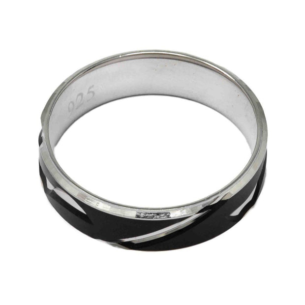 Unisex Black Enamel Ring - By Unniyarcha - Original Manufacturers of Silver Jewelry, Gold Plated Jewellery, Fashion Jewellery and Personalized Soul Bands and Personalized Jewelry