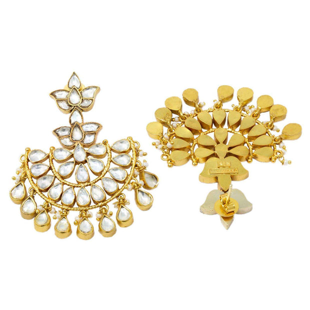 Unniyarcha Gold plated pure 92.5 silver chandbali earrings - By Unniyarcha - Original Manufacturers of Silver Jewelry, Gold Plated Jewellery, Fashion Jewellery and Personalized Soul Bands and Personalized Jewelry