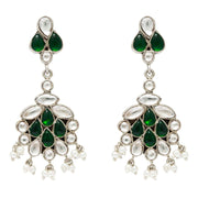 Unniyarcha Pure 92.5 Silver Green & White Drop Earrings - By Unniyarcha - Original Manufacturers of Silver Jewelry, Gold Plated Jewellery, Fashion Jewellery and Personalized Soul Bands and Personalized Jewelry