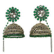 Unniyarcha silver statement green jhumkas - By Unniyarcha - Original Manufacturers of Silver Jewelry, Gold Plated Jewellery, Fashion Jewellery and Personalized Soul Bands and Personalized Jewelry