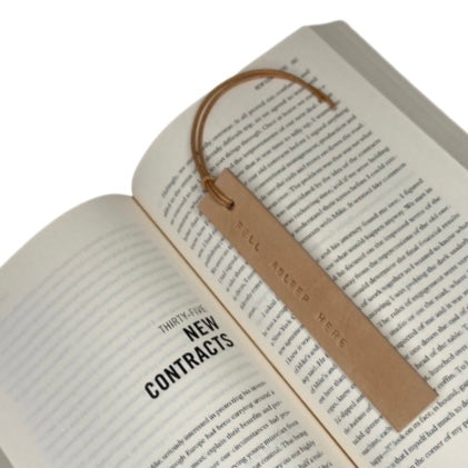 Leather Bookmark - FELL ASLEEP HERE
