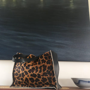 Leather animal print tote