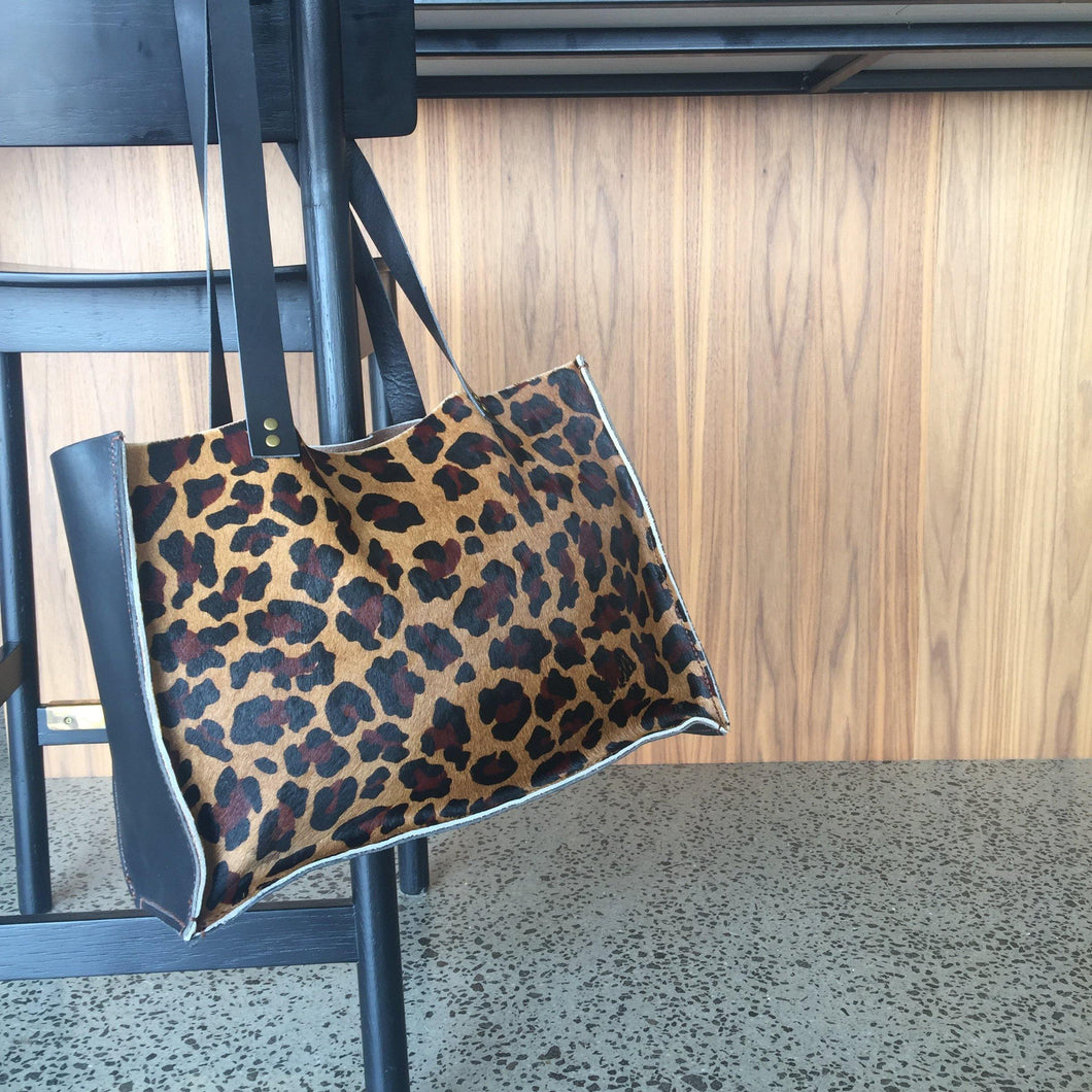 Leopard print leather tote