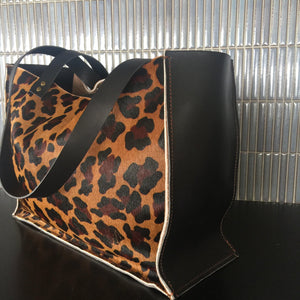 Leopard print leather tote - Houseofsamdesigns