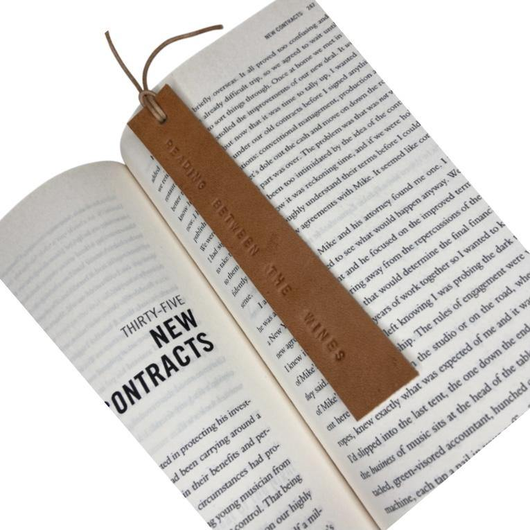 Leather Bookmark - READING BETWEEN THE WINES - Houseofsamdesigns