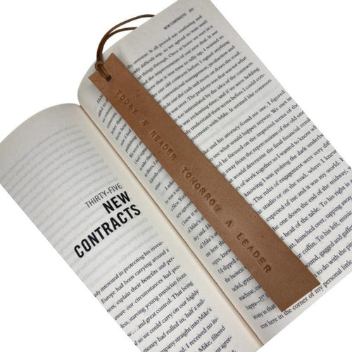 Leather Bookmark - TODAY A READER, TOMORROW A LEADER - Houseofsamdesigns