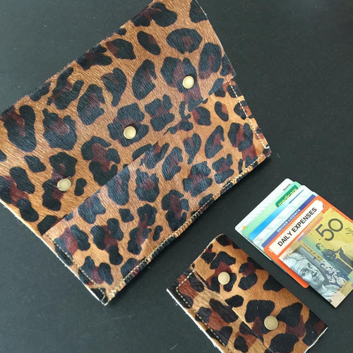 Leopard print leather cross body bag and clutch - Houseofsamdesigns