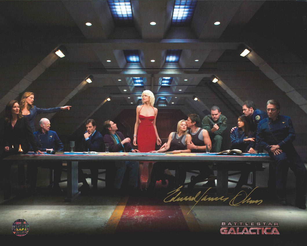 Edward James Olmos Signed Battlestar Galactica Photo