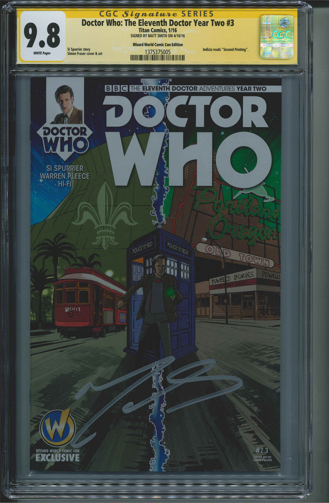 Doctor Who: The Eleventh Doctor Year Two #3 CGC 9.8 Signed by Matt Smith