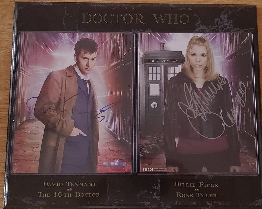 David Tennant And Billie Piper Signed Doctor Who Plaque