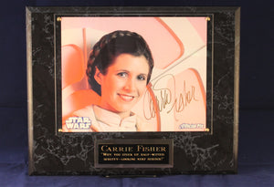 Carrie Fisher Signed Plaque