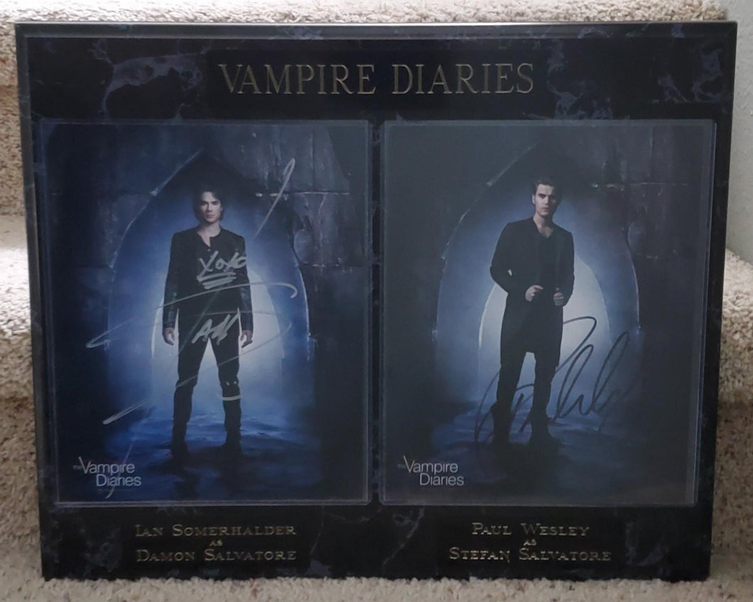 Ian Somerhalder And Paul Wesley Signed Vampire Diaries Plaque