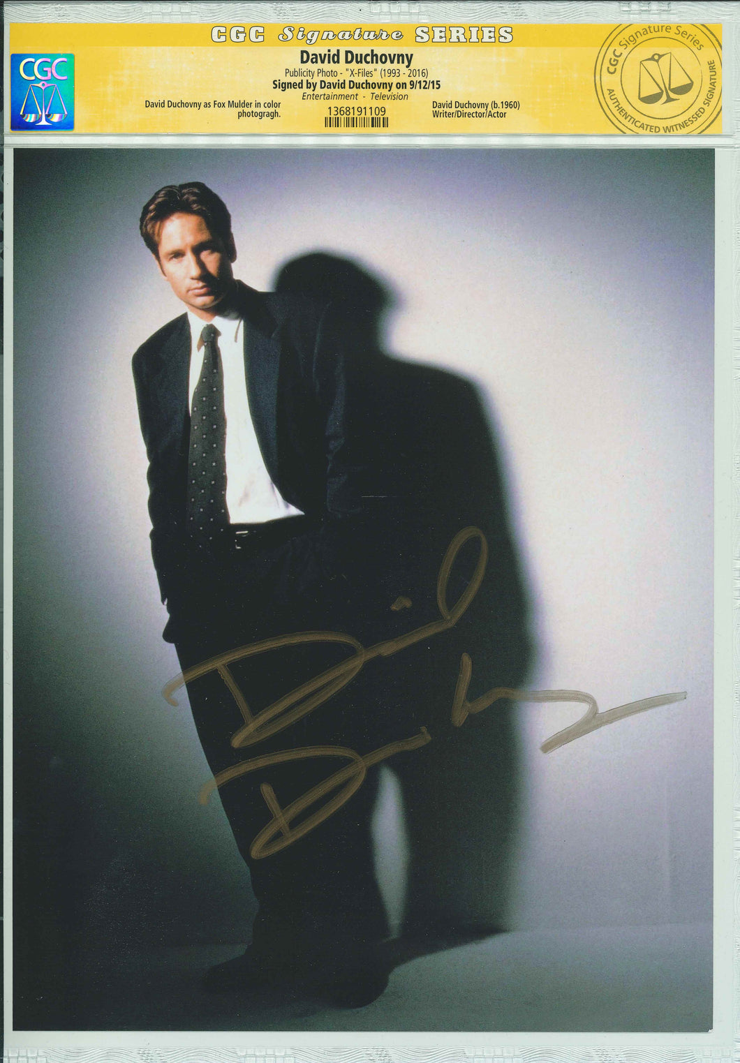David Duchovny Signed CGC The X-Files Photo