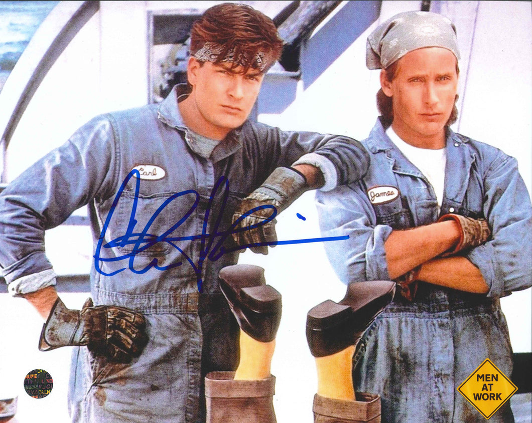Charlie Sheen Signed Men at Work Photo