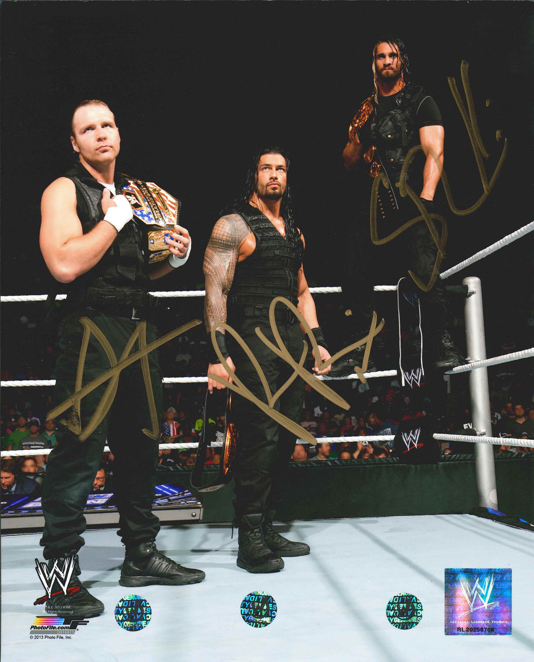 The Shield Signed WWE Photo [Dean Ambrose, Seth Rollins, Roman Reigns]