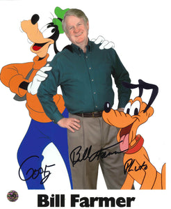 Bill Farmer Signed Goofy and Pluto Photo