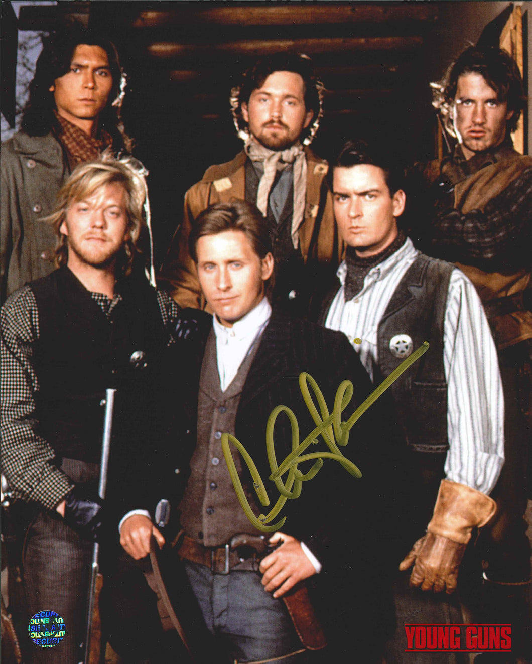 Charlie Sheen Signed Young Guns Photo