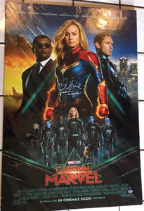 Brie Larson Signed Captain Marvel Poster