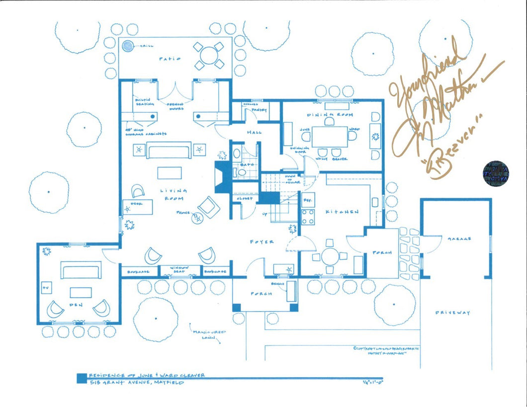 Jerry Mathers Signed Leave It To Beaver Floor Plan