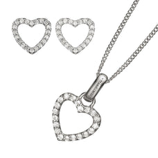 Load image into Gallery viewer, Sparkling Heart Pendant, Silver 40cm chain, Topaz Sparkling Hearts Stud Earrings, presented in a Christina Gift Box