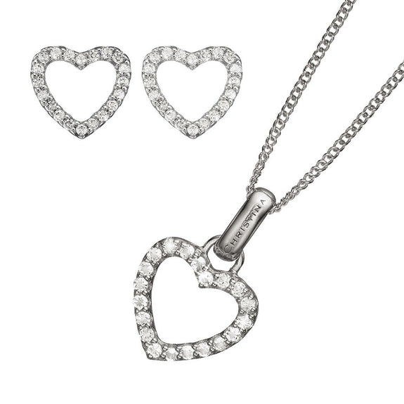 Sparkling Heart Pendant, Silver 40cm chain, Topaz Sparkling Hearts Stud Earrings, presented in a Christina Gift Box
