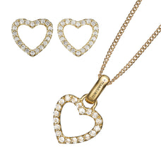 Load image into Gallery viewer, Sparkling Heart Pendant, Gold 40cm chain, Topaz Sparkling Hearts Stud Earrings, presented in a Christina Gift Box