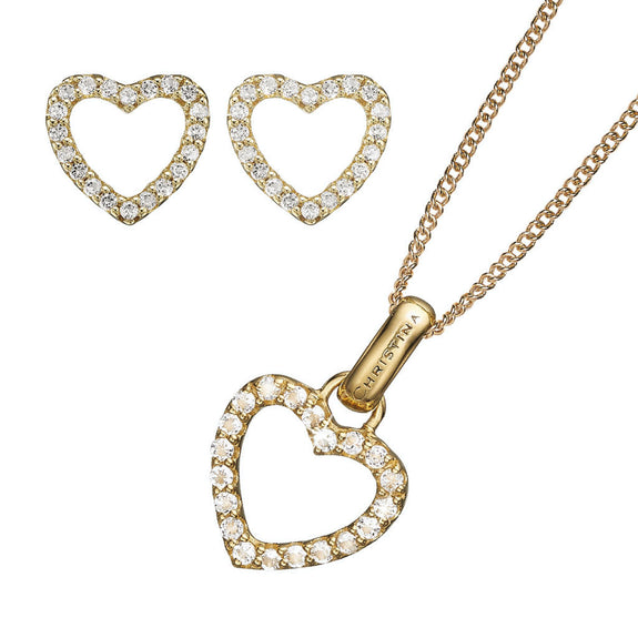 Sparkling Heart Pendant, Gold 40cm chain, Topaz Sparkling Hearts Stud Earrings, presented in a Christina Gift Box