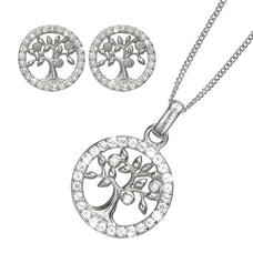 Load image into Gallery viewer, Mother's Day Gift set comprising of Rhoduim Plated 925 Silver Tree of Life Stud Earrings, Pendant and chain embellished with Topaz gemstones