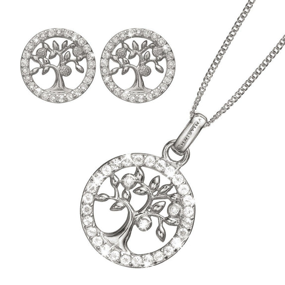 Mother's Day Gift set comprising of Rhoduim Plated 925 Silver Tree of Life Stud Earrings, Pendant and chain embellished with Topaz gemstones