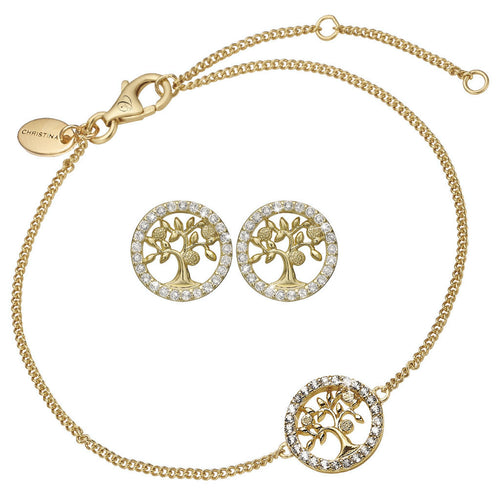 Mother's Day Gift set comprising of Gold Plated 925 Silver Tree of Life Stud Earrings and bracelet embellished with Topaz gemstones