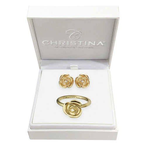 Mother's Day Gift set comprising of Gold Plated 925 Silver Roses Stud Earrings and Ring embellished with Topaz gemstones