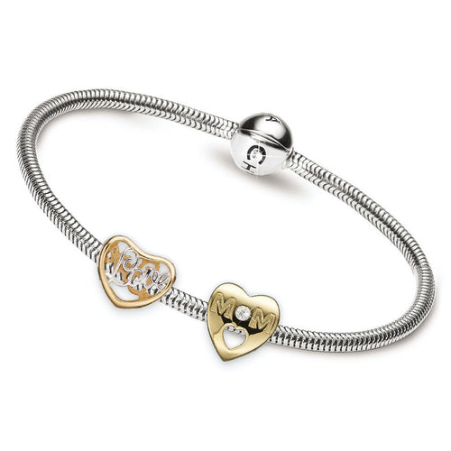Sterling Silver Charm bracelet with two Gold Plated 925 Sterling Silver Charms; My Mom & Love Charm