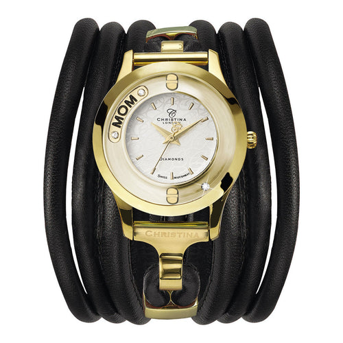 Christina Collect Swiss Movement Gold Plated Watch with a floating Diamond and Mum insert with Topaz Gemstones - Black Leather Cord