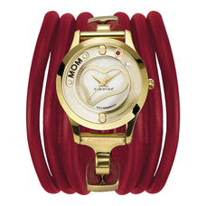 Load image into Gallery viewer, Christina Love Collect Swiss Movement Gold Plated Watch with a floating Diamond,Mum and Loving Heart insert with  Topaz & Ruby Gemstones - Red Leather Cord