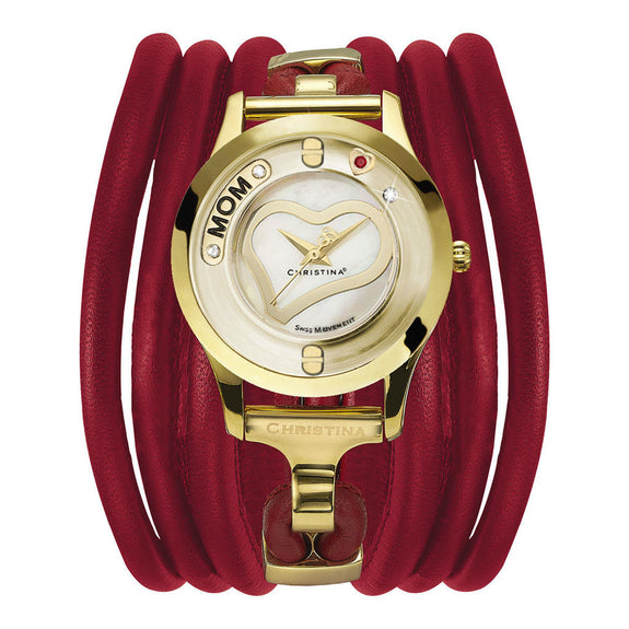 Christina Love Collect Swiss Movement Gold Plated Watch with a floating Diamond,Mum and Loving Heart insert with  Topaz & Ruby Gemstones - Red Leather Cord