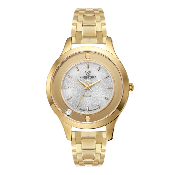 Magic, a Ladies Collect Watch with One White Real Diamond  and a Gold Plated Steel Bracelet