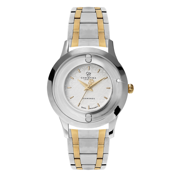 Original, a Ladies Collect Watch with One White Real Diamond  and a Two Tone Silver & Gold Bracelet