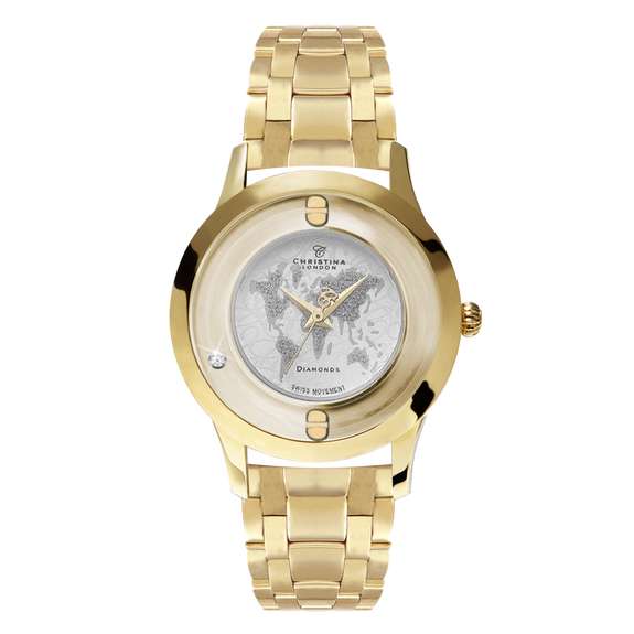 World, a Ladies Collect Watch with One White Real Diamond  and a Gold Plated Steel Bracelet