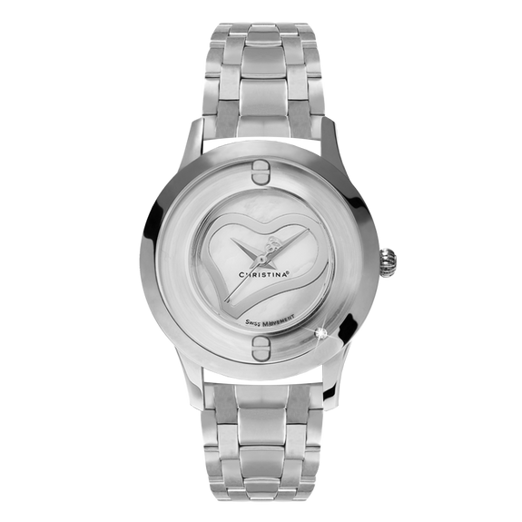 Love, a Ladies Collect Watch with One White Real Diamond  and a Silver Finished Steel Bracelet