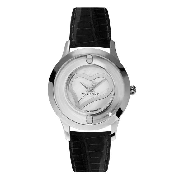Love, a Ladies Collect Watch with One White Real Diamond  and a Black Leather Strap