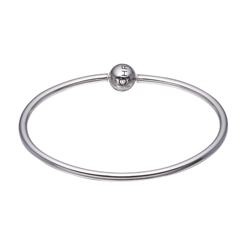 925 Sterling Silver Bangle for Charms, with a Real Gemstone