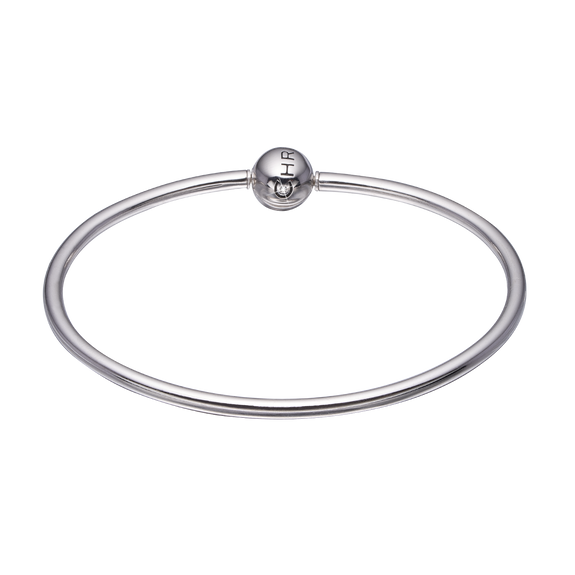 Bangle for Charms, 925 Sterling Silver with a Real Gemstone