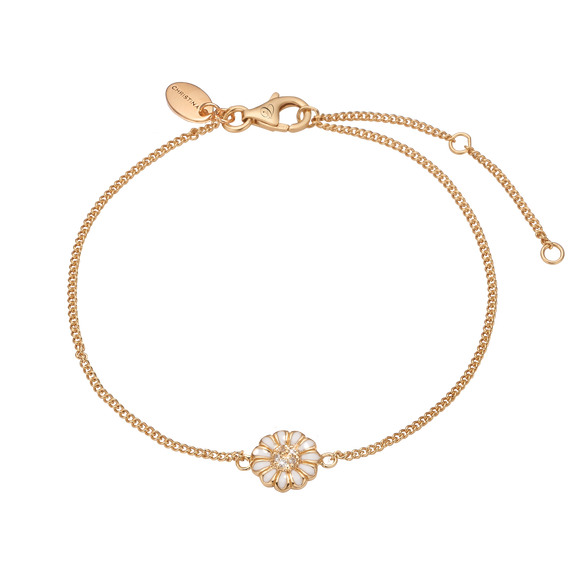 Single Marguerite Bracelet Gold and White with Gemstones