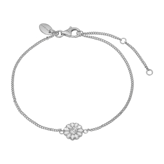 Single Marguerite Bracelet Silver and White with Gemstones