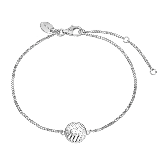 Open Leaf Bracelet Silver with Gemstones