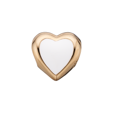 Load image into Gallery viewer, Big Enamel Heart Bead Charm Gold and White