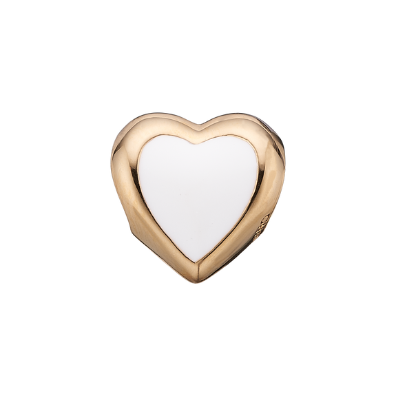 Big Enamel Heart Bead Charm Gold and White