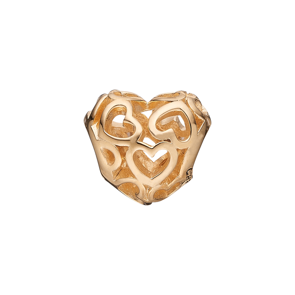 Petite Heart Beat Love Bead Charm Gold